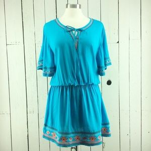 Ariat  blouson minidress with embroidery accents